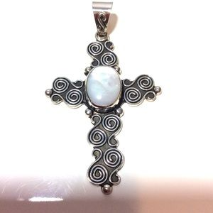 Jewelry - Silver and Mother of Pearl Cross Pendant. NWOT