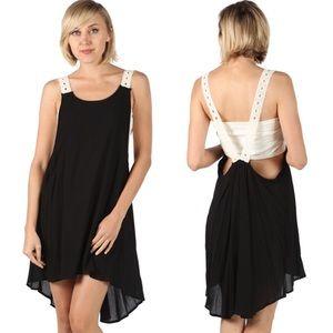 fairlygirly Dresses & Skirts - Black Open Back Crochet Detail Gauzey Slip Dress