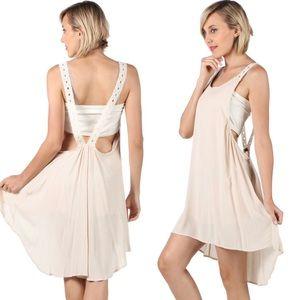 fairlygirly Dresses & Skirts - Nude Open Back Crochet Detail Gauzey Slip Dress
