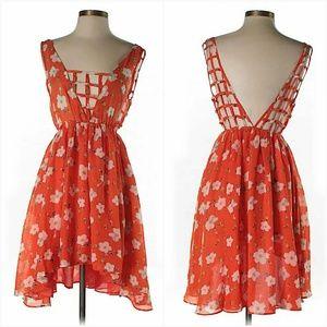 NWT LF Caged Back High Low Orange Floral Dress.