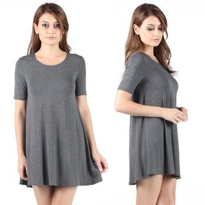 Grey Loose Short Sleeve Tee Shirt Dress Tunic