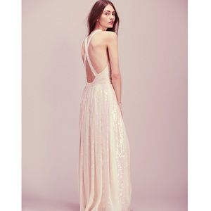 Free People Dresses & Skirts - 🆕 Free People Blush Striped Sequin Maxi