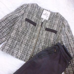 Milly Tweed Cropped Zip Blazer