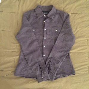 Island Company Tops - Island Company Navy Blue Linen Button-down shirt S
