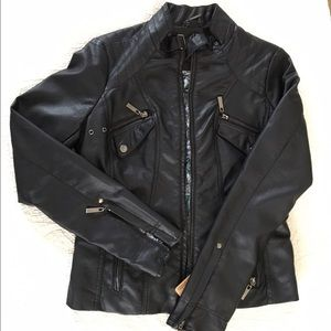 Jou Jou Jackets & Blazers - JouJou, Faux Leather Moto Jacket