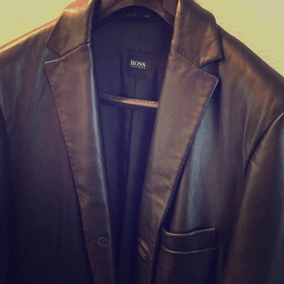 8afedd0649 Hugo Boss Jackets & Coats | Mens Leather Blazer Jacket Coat | Poshmark