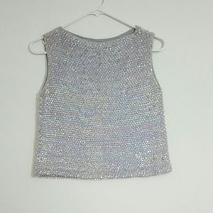 Tops - Vintage Sequins Baby Blue Top