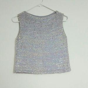 Tops - Vintage Sequins Baby Blue Top