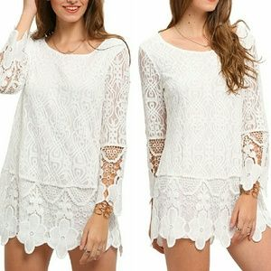 Tops - boho chic white crochet lace tunic mini dress