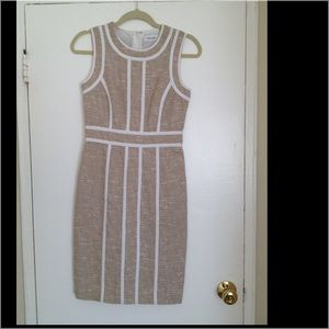 Calvin Klein tan sleeveless dress.