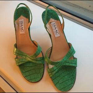 Isaac Mizrahi green leather slingback  heels sz7.5