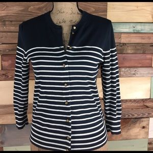 J. Crew Sweaters - J. Crew Navy & White Stripe Nautical Cardigan - S