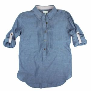 Anthropologie Tops - ANTHROPOLOGIE Blue Chambray Popover Shirt