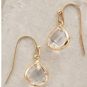 Anthropologie gold crystal dollop earrings
