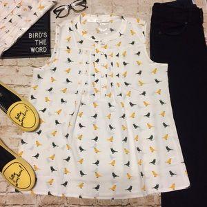 Modcloth Bird-Print Blouse