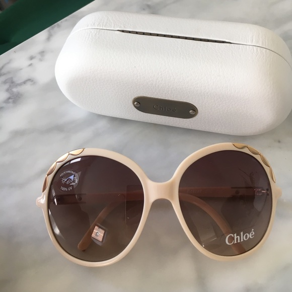 f0ccbde47542 Chloe Oversized Jackie Sunglasses Cream Gold Retro