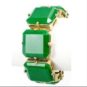 Bracelet Green Square Stretch Acrylic Link Chunky