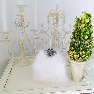 Lapis Handbags - Lapis white faux-fur evening bag