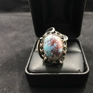 Jewelry - Large turquoise and silver reworked ring