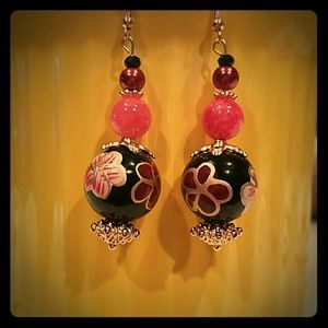 my own  Jewelry - Handcrafted n painted corals maroon black and gold