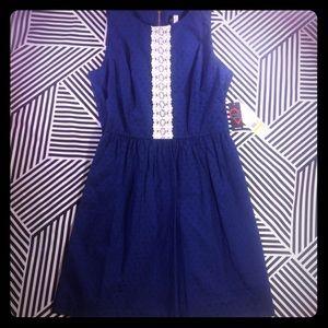 NWT Kensie Crochet-Trim Textured Flare Navy Dress