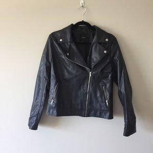 Navy Faux Leather Moto Jacket