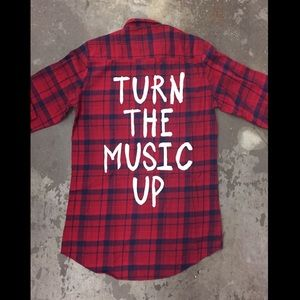 Jac Vanek Tops - Jac Vanek Turn The Music Up Vintage Flannel