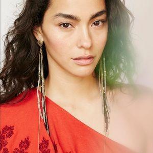 Free People gold suede shoulder duster earrings