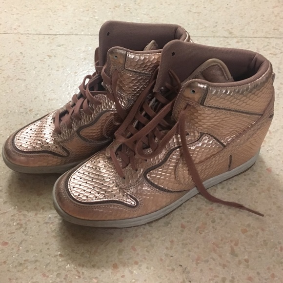 Nike Shoes - Rose gold Nike wedge sneakers women s 7.5 b834bfde42