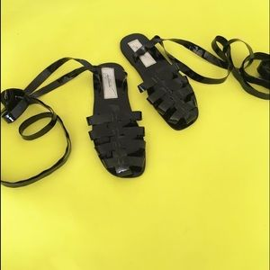 Loza Maleombho  Shoes - Loza Maleombho Black Zebra Lace Up Sandals 40