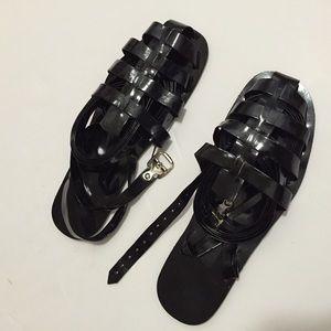 Loza Maleombho  Shoes - Loza Maleombho Black Zebra Lace Up Sandals 40