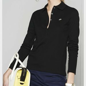 Lacoste Tops - Lacoste // Long Sleeve Slim Black Polo