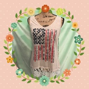 Shyanne Tops - Ladies flag Tank with lace edge at bottom NWT.