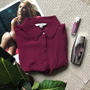 Decree Tops - Lovely Burgandy Loose Fit Shirt Blouse Top