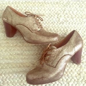 Frye Cracked Gold Lace Up Heel from Anthropologie