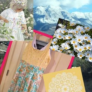 Stoosh Dresses & Skirts - Watercolor Daisy and Lace Dress