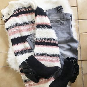 ASOS Fuzzy Striped Sweater