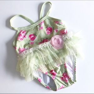 Nannette Other - Nannette Baby green bathing suit with pink flowers