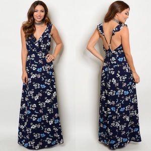 GlamVault Dresses & Skirts - Navy with Ruffles Flowers Maxi Dress