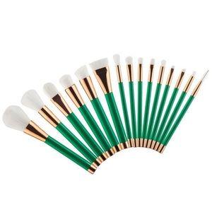 Other - Rose Gold & Green Makeup Brush Set