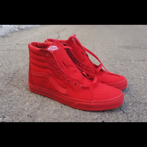 All red high top vans. M 58aa3d5ec6c79512641705da 55486dcd57