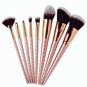 Other - Rose Gold Matte Rhombus Makeup Brush Set