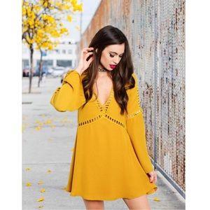 GlamVault Dresses & Skirts - Last❣️Mustard Tunic Dress & Crochet Details