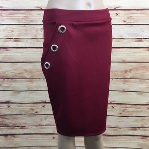 Charlotte Russe Dresses & Skirts - Maroon grommet pencil skirt size M (nwt)