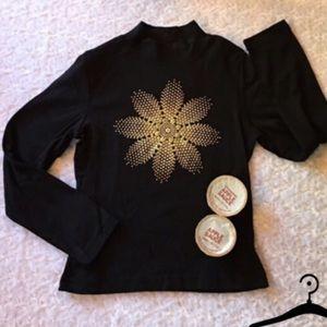 JORDACHE Other - KIDS BLACK MOCK TURTLENECK GOLD FLOWER [must bndl]