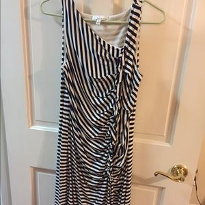 Maternity striped dress (navy and white)