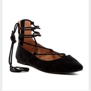 BC Footwear Shoes - Black Lace Up Ballet Flats