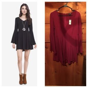 Express Dresses & Skirts - ✨NWT✨ Express Bell Sleeve Dress- Maroon