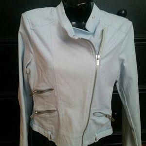 Maralyn & Me Jackets & Blazers - Baby Blue Cotton Moto Motorcycle Waist Jacket Coat