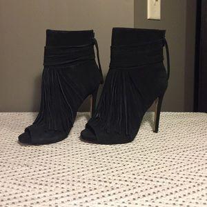 Chelsea & Zoe Shoes - Suede peep toe booties